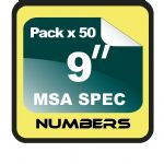 "9"" Race Numbers MSA SPEC - 50 pack"